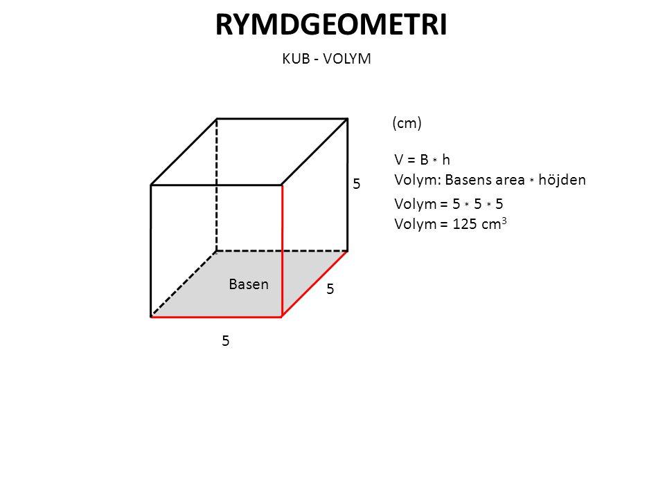 RYMDGEOMETRI KUB - VOLYM (cm) V = B * h Volym: Basens area * höjden 5