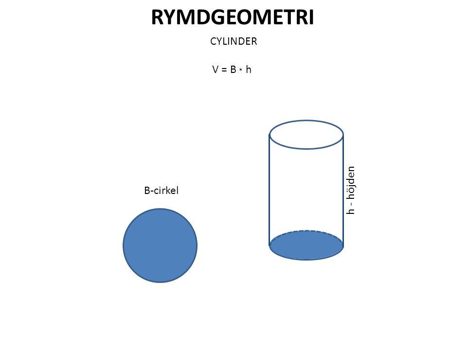 RYMDGEOMETRI CYLINDER V = B * h B-cirkel h - höjden