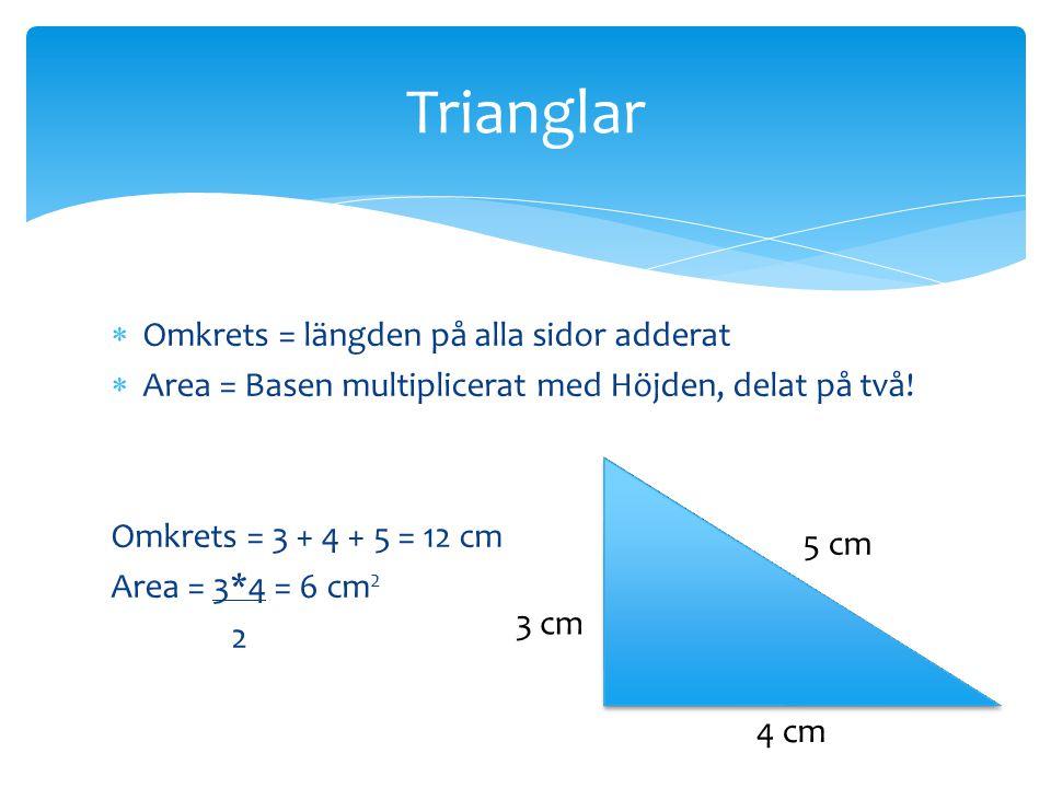Trianglar Omkrets = längden på alla sidor adderat