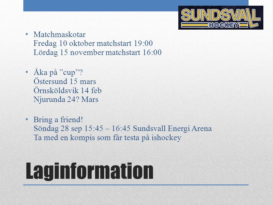 Matchmaskotar Fredag 10 oktober matchstart 19:00 Lördag 15 november matchstart 16:00