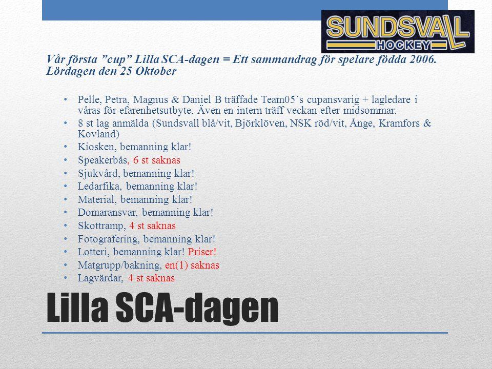 Vår första cup Lilla SCA-dagen = Ett sammandrag för spelare födda 2006. Lördagen den 25 Oktober