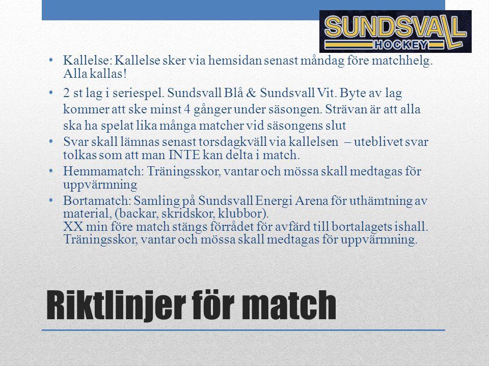 Kallelse: Kallelse sker via hemsidan senast måndag före matchhelg