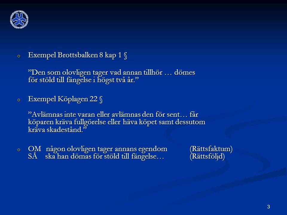 Exempel Brottsbalken 8 kap 1 §