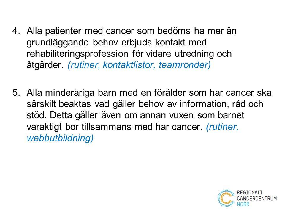 Alla patienter med cancer som bedöms ha mer än grundläggande behov erbjuds kontakt med rehabiliteringsprofession för vidare utredning och åtgärder. (rutiner, kontaktlistor, teamronder)