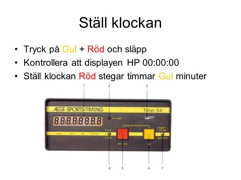 Ställ klockan Tryck på Gul + Röd och släpp