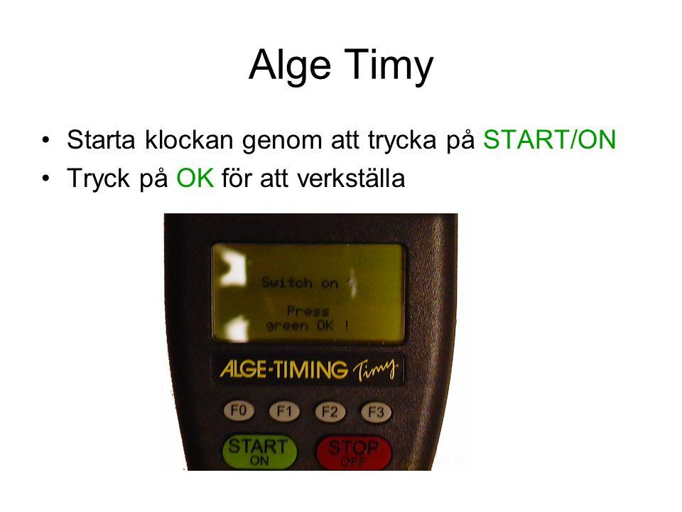 Alge Timy Starta klockan genom att trycka på START/ON