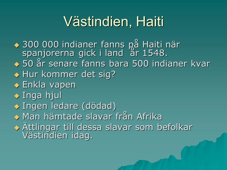 Västindien, Haiti 300 000 indianer fanns på Haiti när spanjorerna gick i land år 1548. 50 år senare fanns bara 500 indianer kvar.