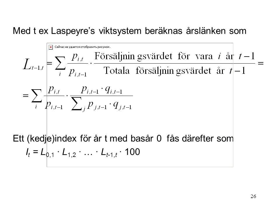 Med t ex Laspeyre's viktsystem beräknas årslänken som