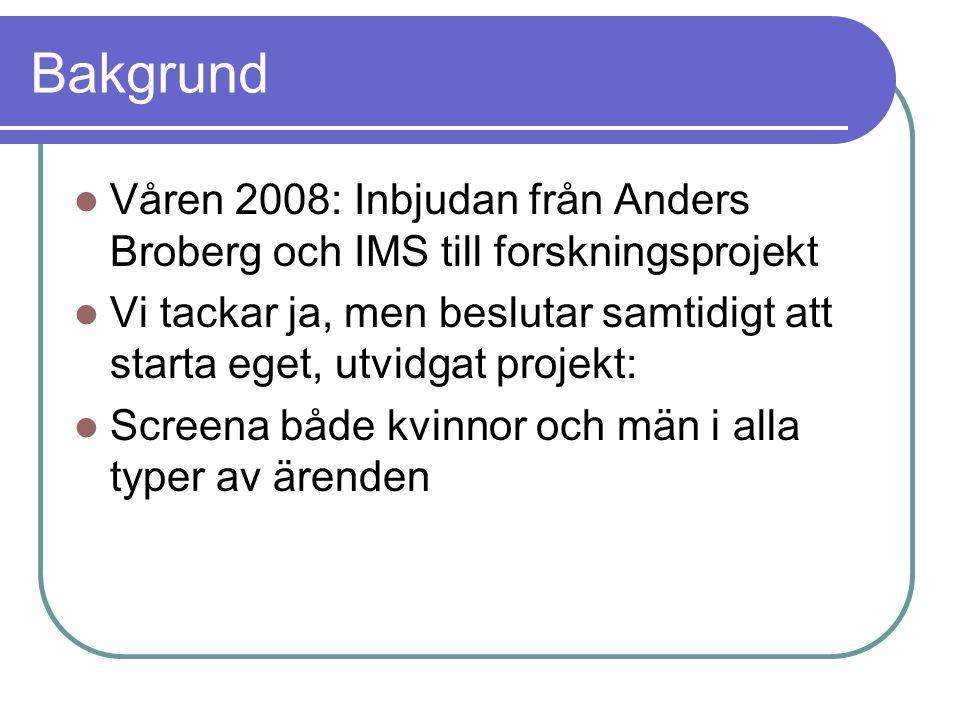 Bakgrund Våren 2008: Inbjudan från Anders Broberg och IMS till forskningsprojekt.