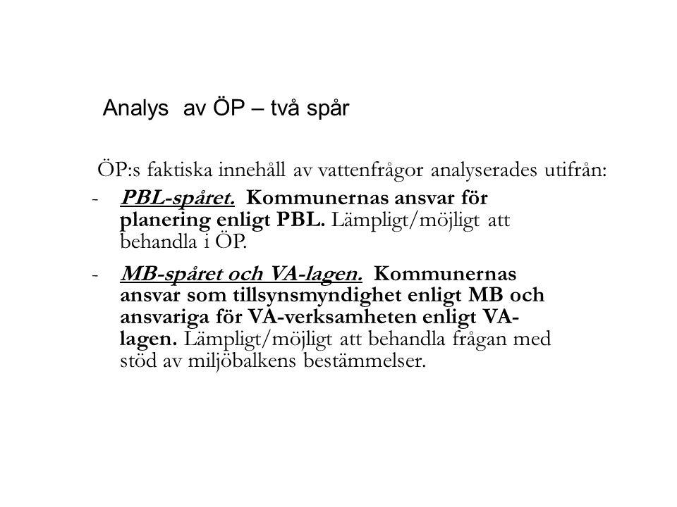 Analys av ÖP – två spår PBL-spåret. Kommunernas ansvar för planering enligt PBL. Lämpligt/möjligt att behandla i ÖP.