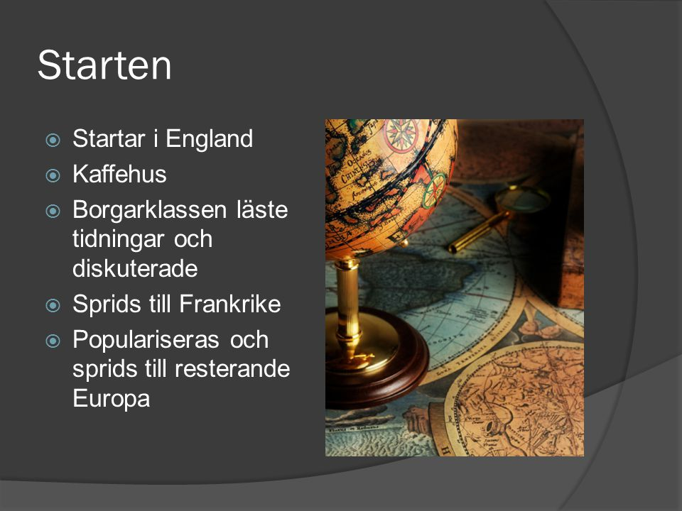 Starten Startar i England Kaffehus