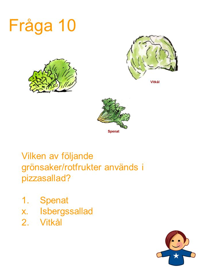 Fråga 10 Vilken av följande grönsaker/rotfrukter används i