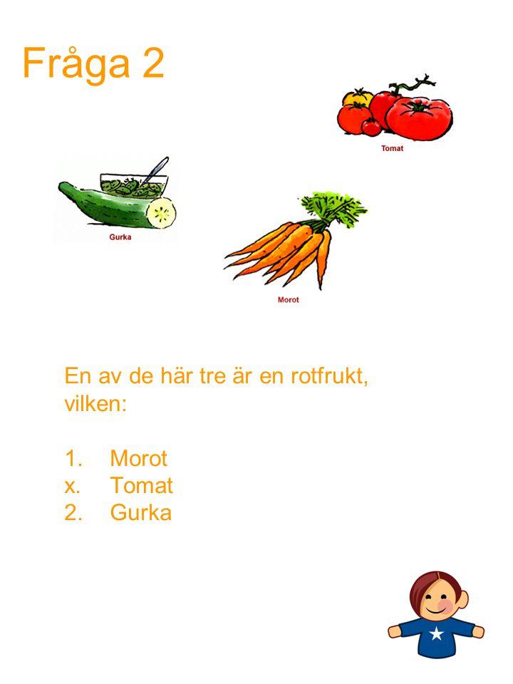 En av de här tre är en rotfrukt, vilken: Morot Tomat 2. Gurka