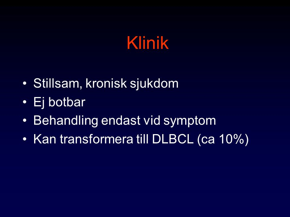 Klinik Stillsam, kronisk sjukdom Ej botbar