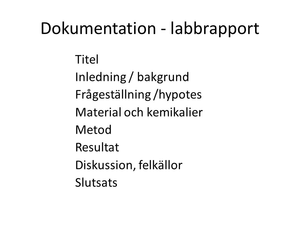 Dokumentation - labbrapport