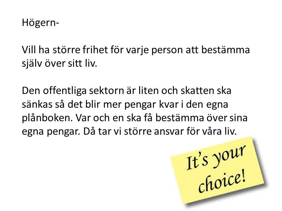 Högern- Vill ha större frihet för varje person att bestämma själv över sitt liv.