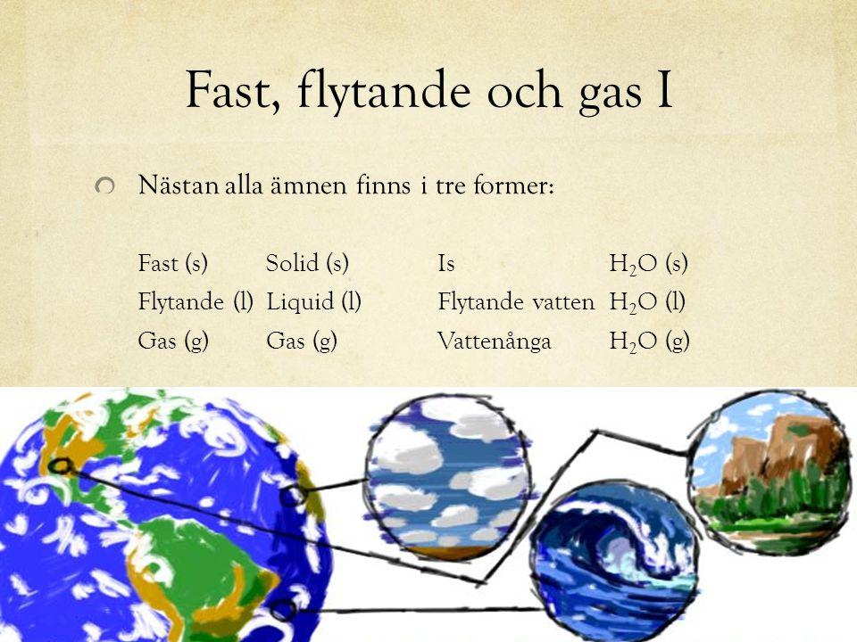 Fast, flytande och gas I Nästan alla ämnen finns i tre former:
