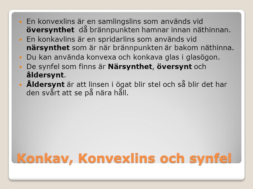 Konkav, Konvexlins och synfel