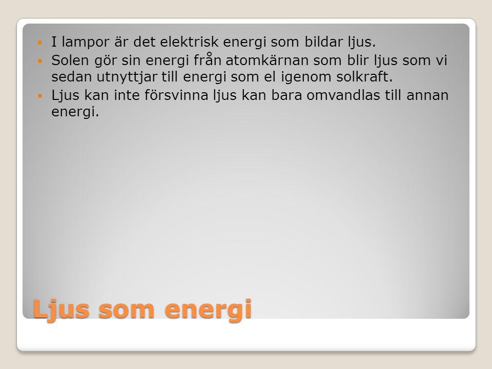 Ljus som energi I lampor är det elektrisk energi som bildar ljus.