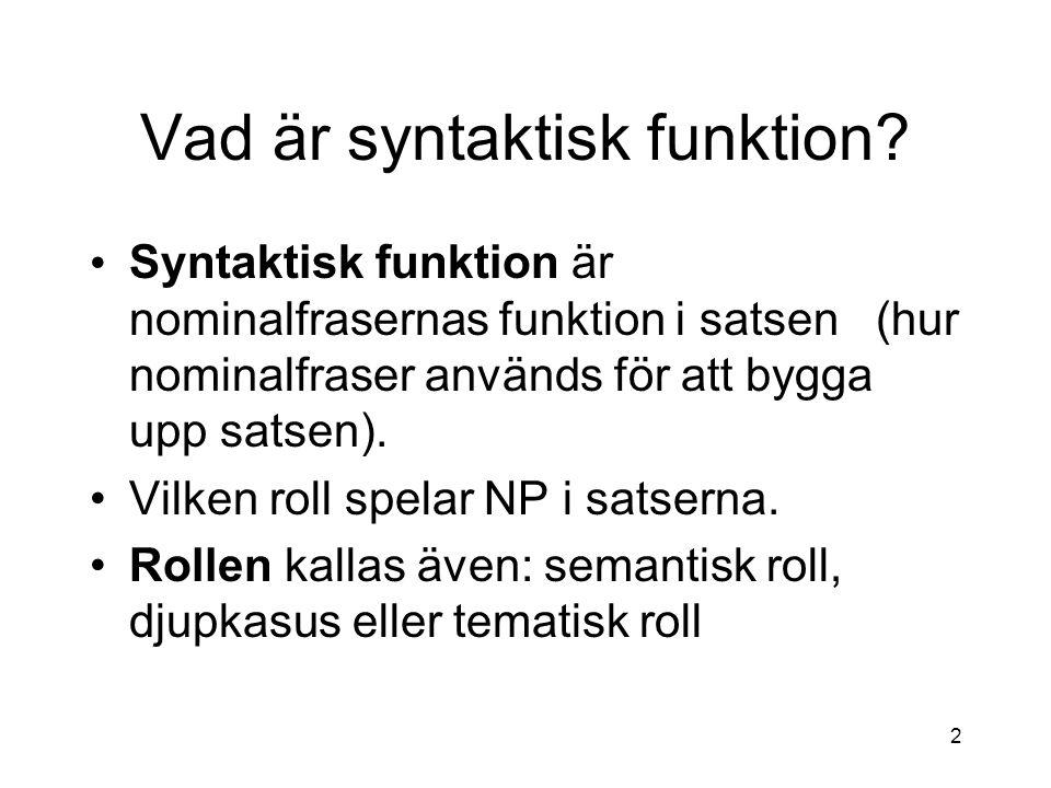 Vad är syntaktisk funktion