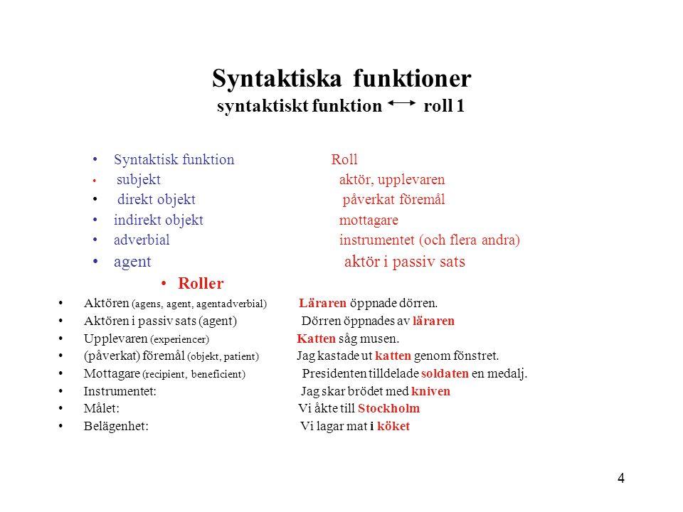 Syntaktiska funktioner syntaktiskt funktion roll 1