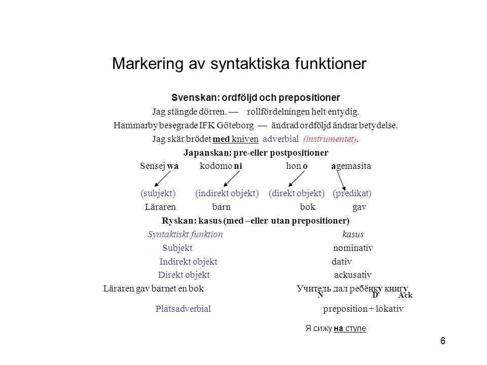 Markering av syntaktiska funktioner
