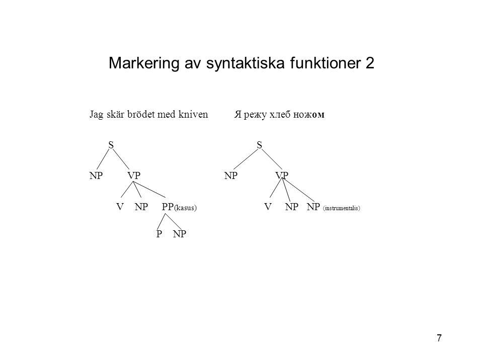 Markering av syntaktiska funktioner 2