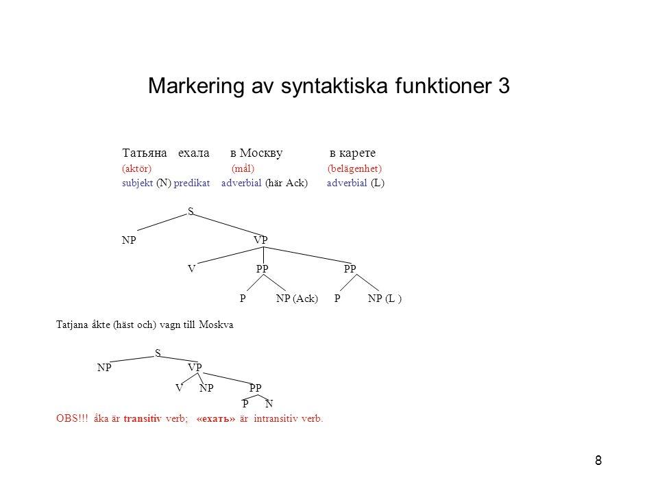 Markering av syntaktiska funktioner 3