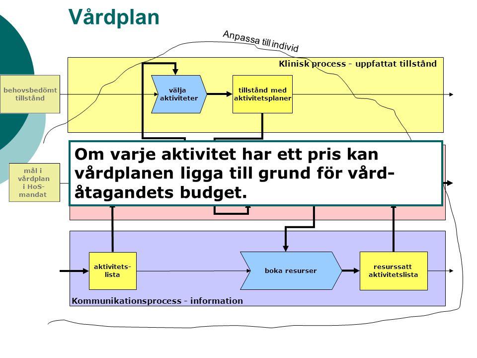 Vårdplan Anpassa till individ. Klinisk process - uppfattat tillstånd. behovsbedömt. tillstånd. välja.