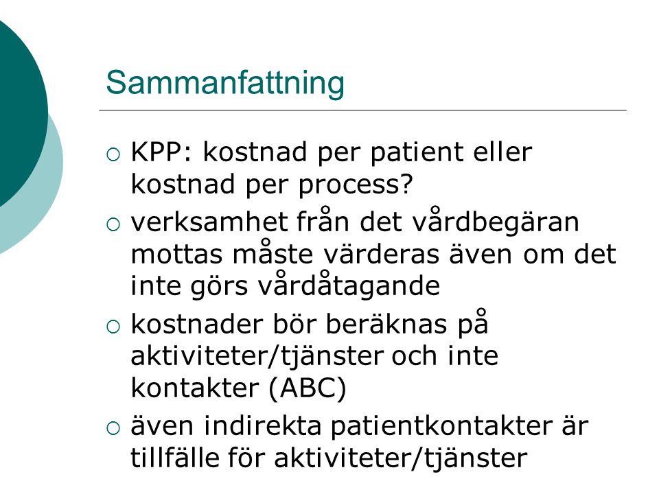 Sammanfattning KPP: kostnad per patient eller kostnad per process
