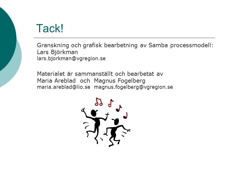 Tack! Granskning och grafisk bearbetning av Samba processmodell: Lars Björkman. lars.bjorkman@vgregion.se.