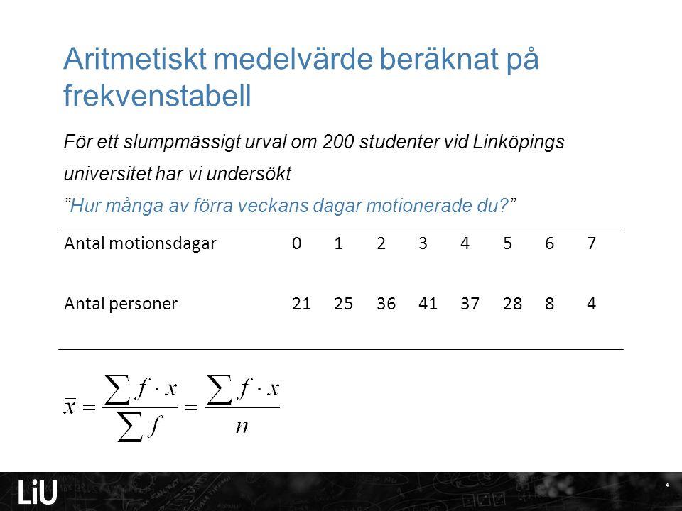 Aritmetiskt medelvärde beräknat på frekvenstabell