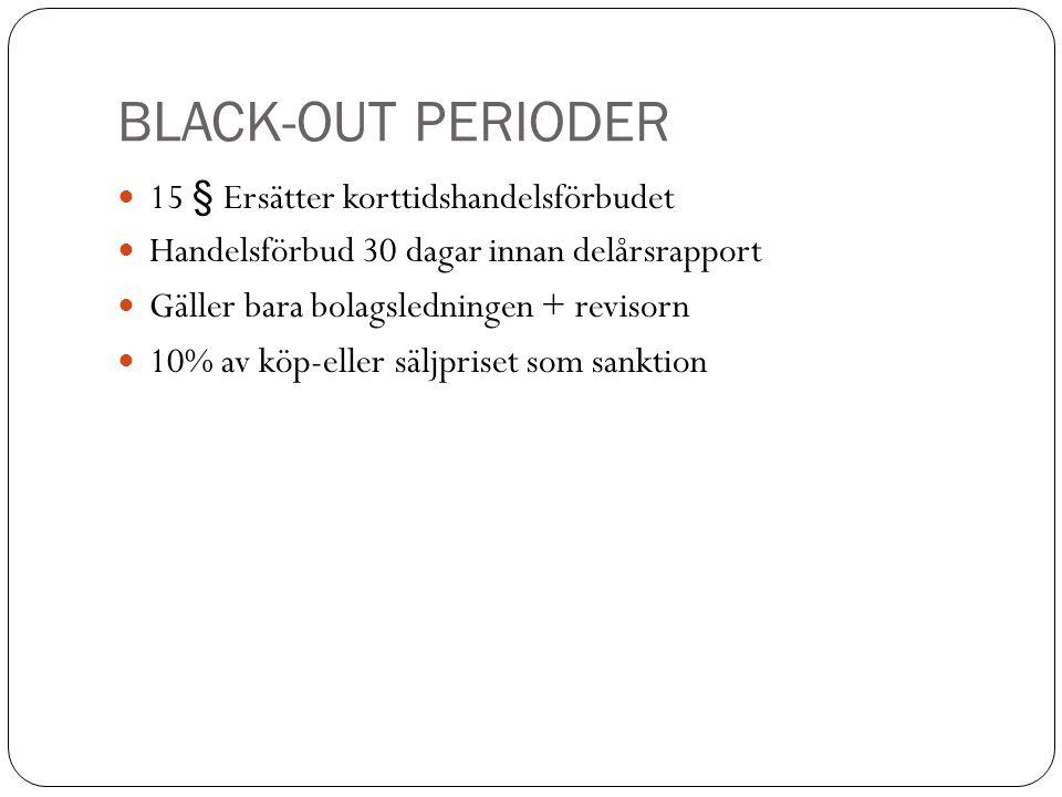 BLACK-OUT PERIODER 15 § Ersätter korttidshandelsförbudet