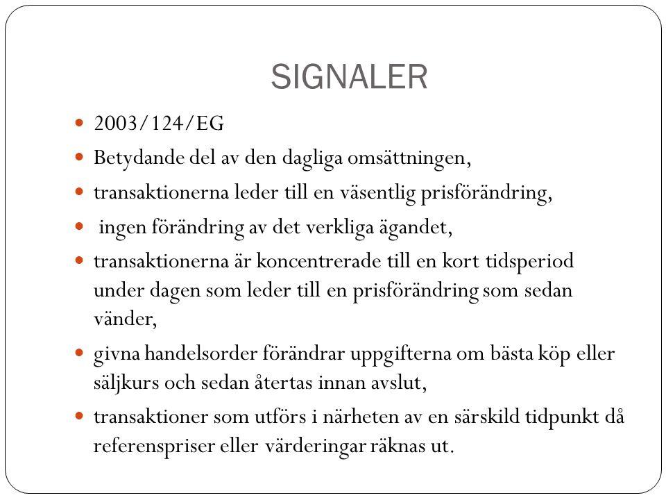 SIGNALER 2003/124/EG Betydande del av den dagliga omsättningen,