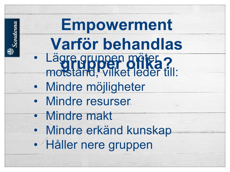 Empowerment Varför behandlas grupper olika