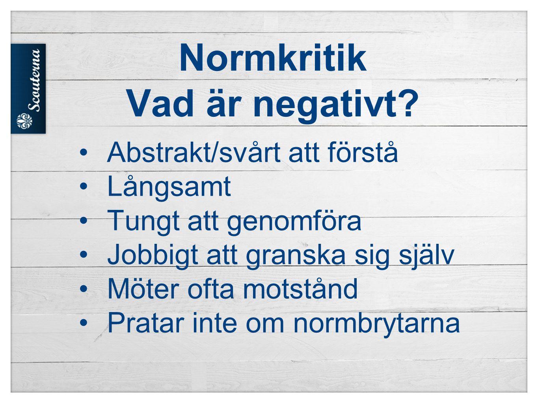 Normkritik Vad är negativt