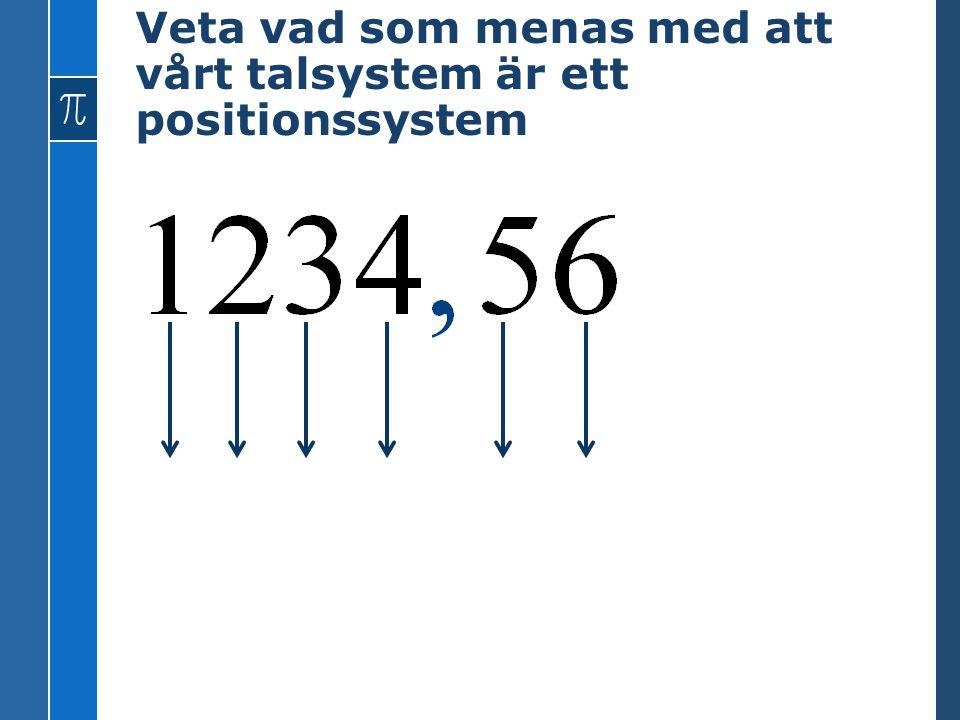Veta vad som menas med att vårt talsystem är ett positionssystem