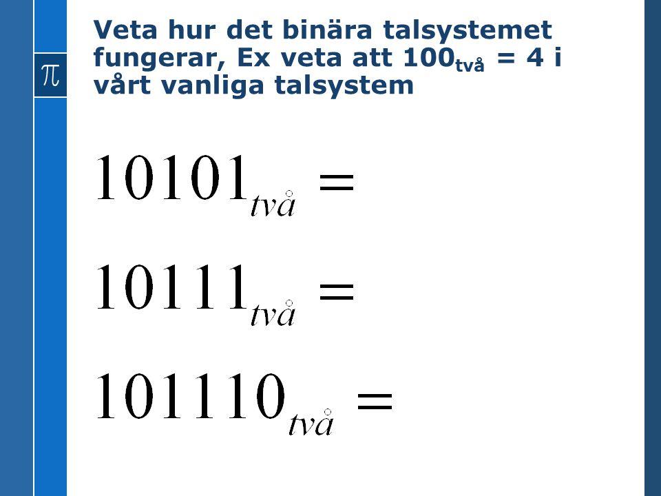Veta hur det binära talsystemet fungerar, Ex veta att 100två = 4 i vårt vanliga talsystem