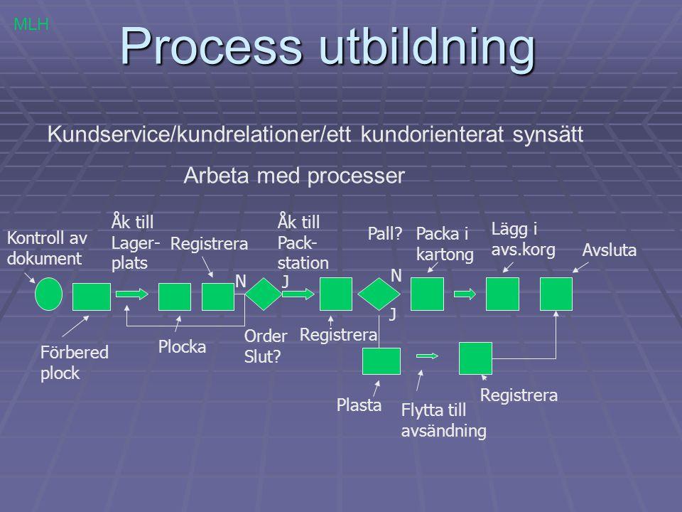 Process utbildning MLH. Kundservice/kundrelationer/ett kundorienterat synsätt. Arbeta med processer.
