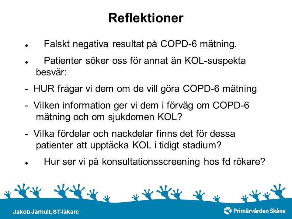 Reflektioner Falskt negativa resultat på COPD-6 mätning.