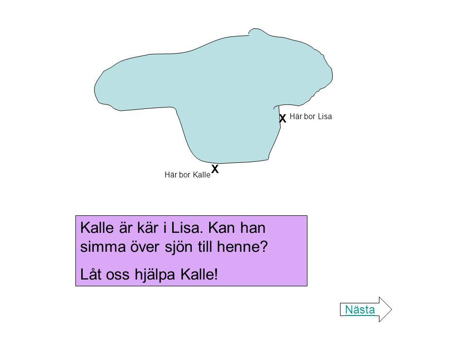 Kalle är kär i Lisa. Kan han simma över sjön till henne