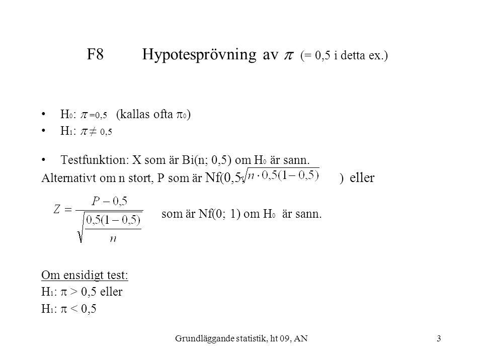 F8 Hypotesprövning av  (= 0,5 i detta ex.)