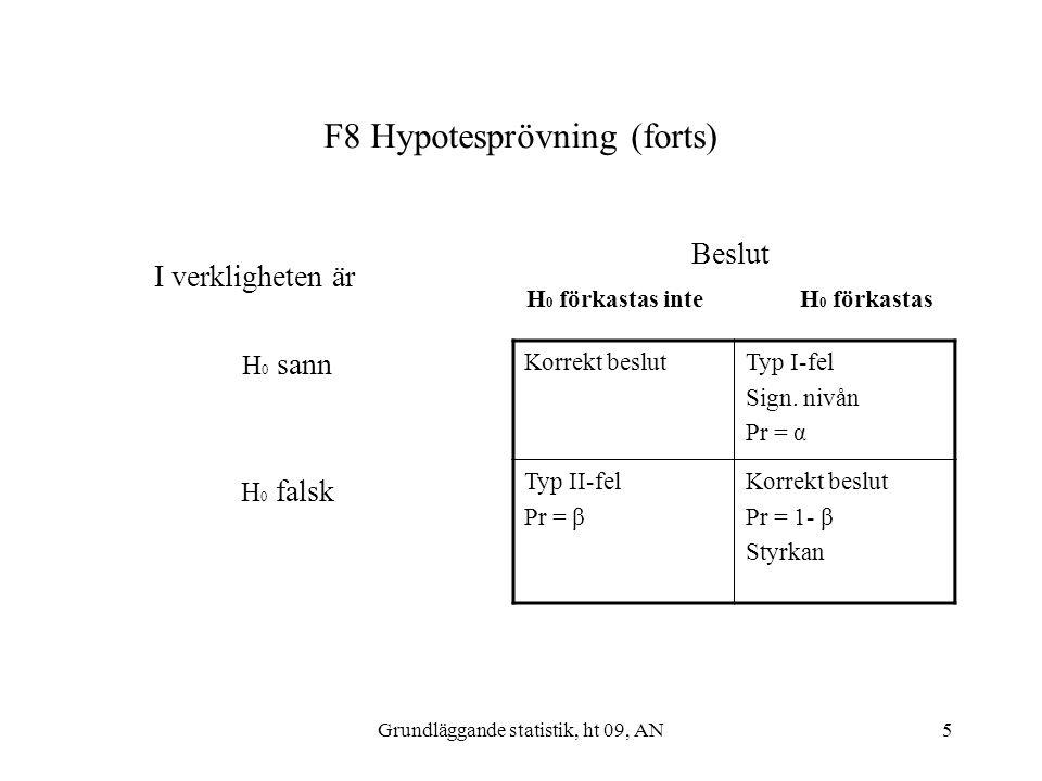 F8 Hypotesprövning (forts)