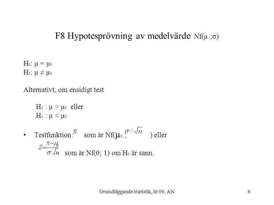 F8 Hypotesprövning av medelvärde Nf(µ ;σ)