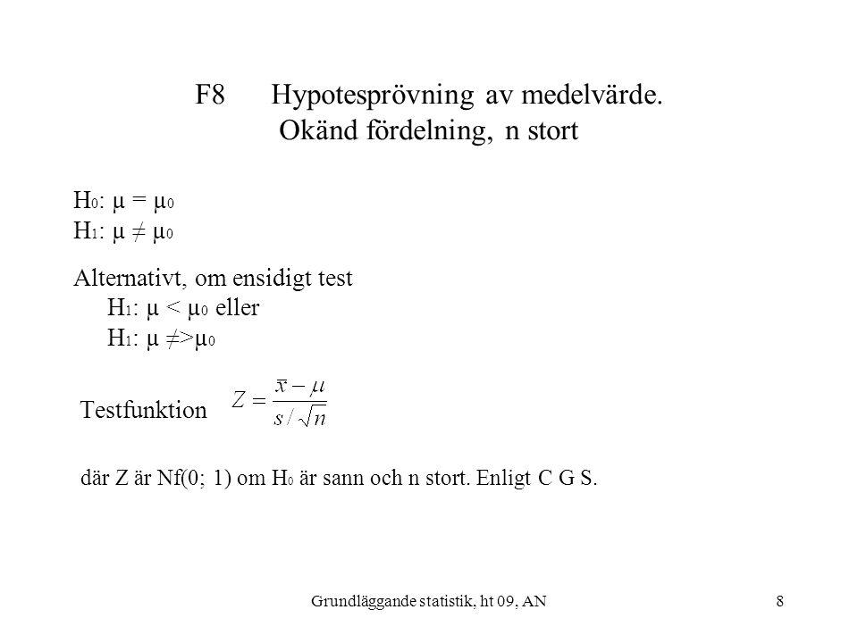 F8 Hypotesprövning av medelvärde. Okänd fördelning, n stort