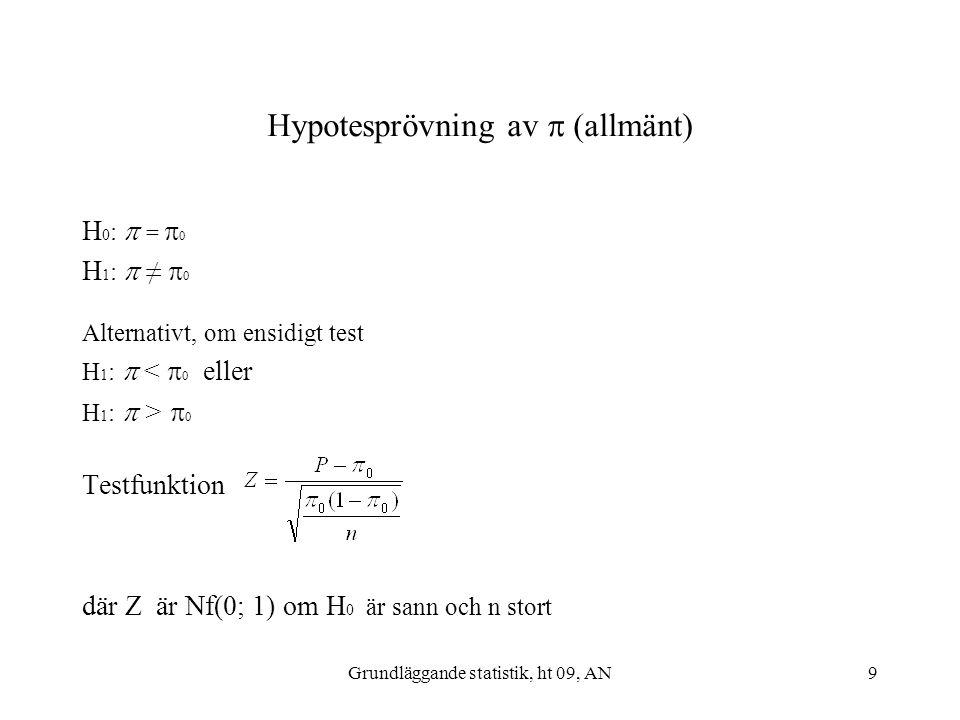 Hypotesprövning av  (allmänt)