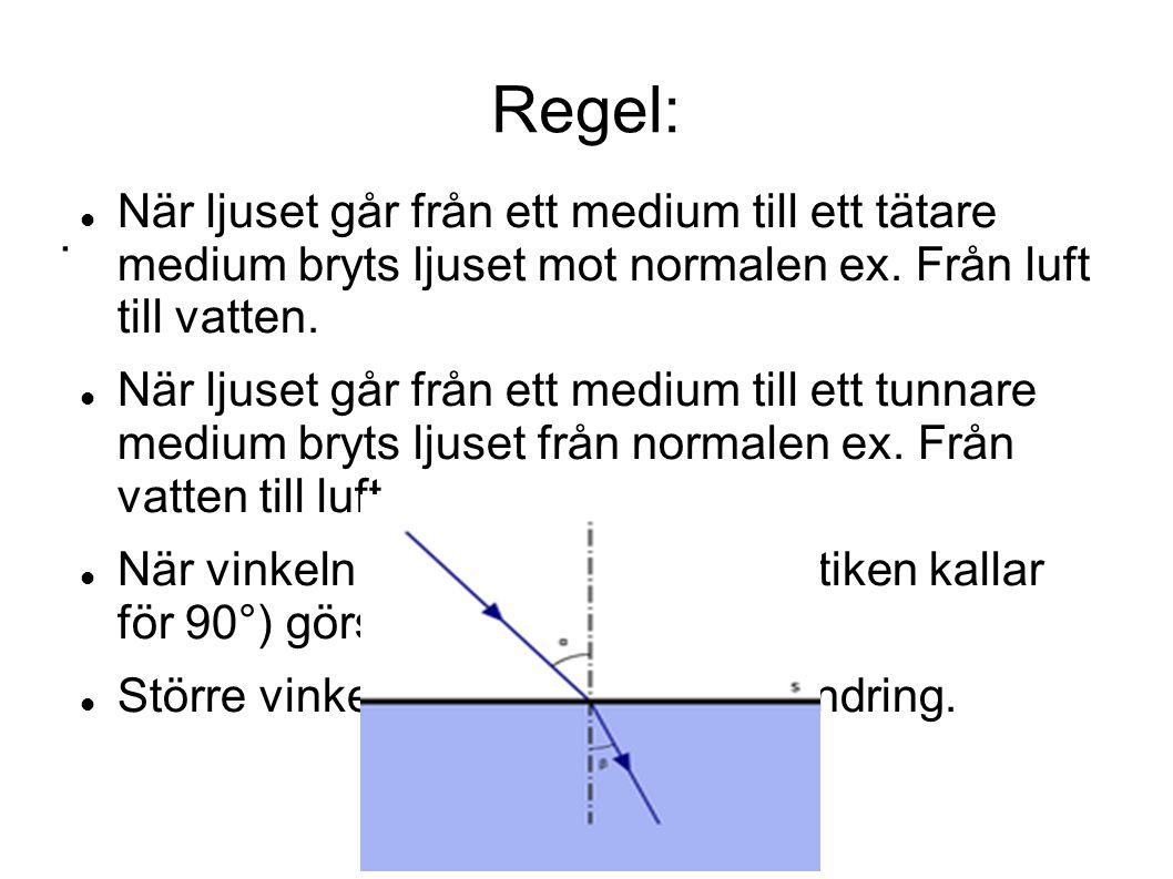 Regel: När ljuset går från ett medium till ett tätare medium bryts ljuset mot normalen ex. Från luft till vatten.