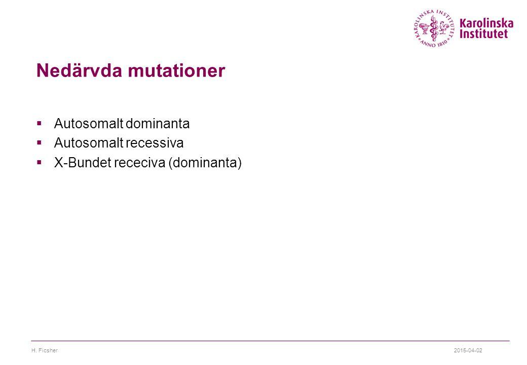 Nedärvda mutationer Autosomalt dominanta Autosomalt recessiva