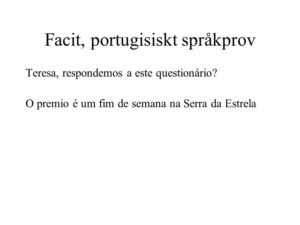 Facit, portugisiskt språkprov