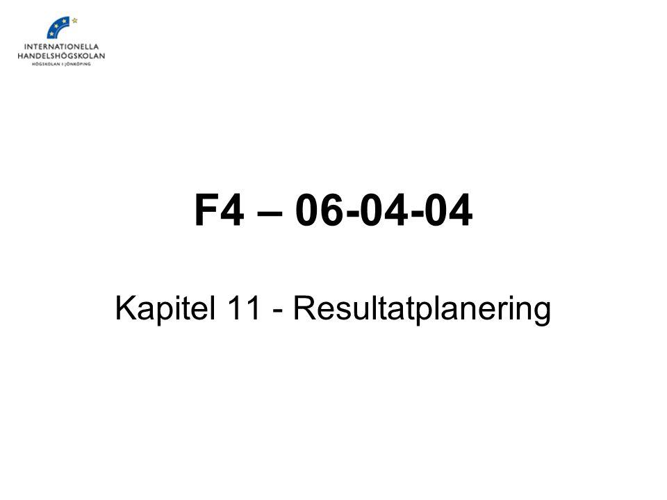 Kapitel 11 - Resultatplanering